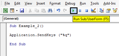 VBA SendKeys Example 2-3