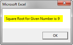 VBA Square Root Example 2-6