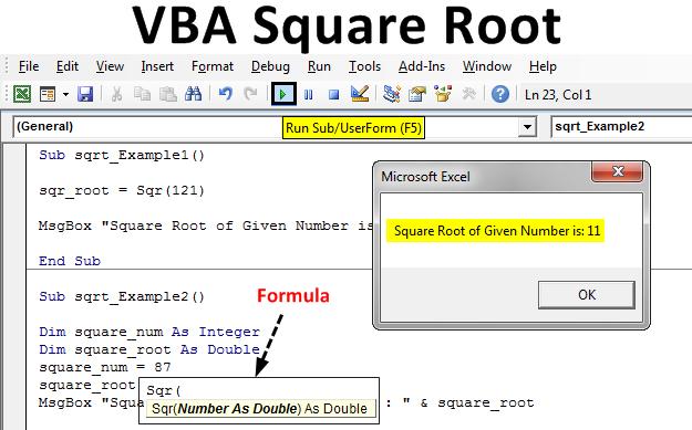 VBA Square Root