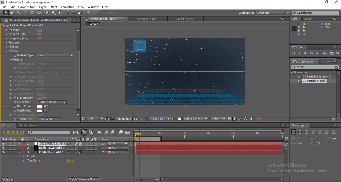 Rain in After Effects - Values of Particles