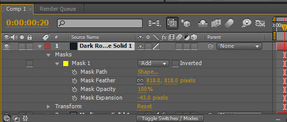 Rain in After Effects - Values of the Mask
