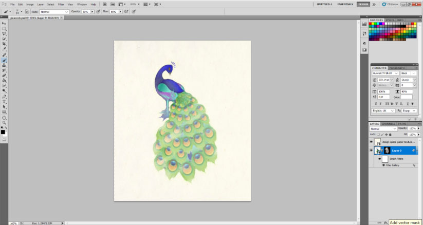 peacock with a watercolor effect