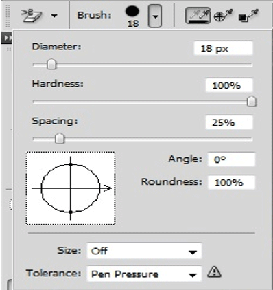 propeties of brush (Eraser Tool in Photoshop)