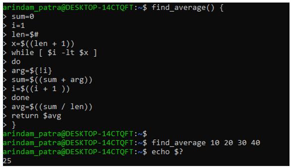 function in shell script 1