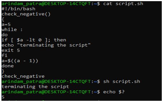 function in shell script 2