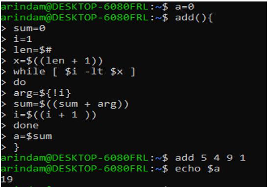 function in shell script