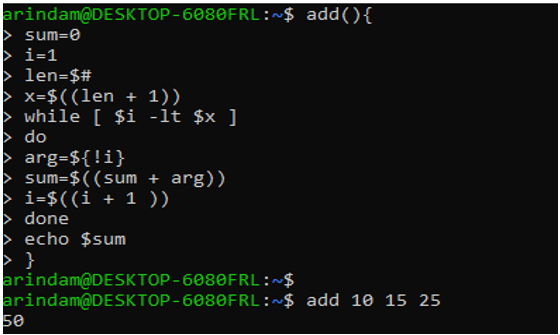 echo the sum of the numbers output