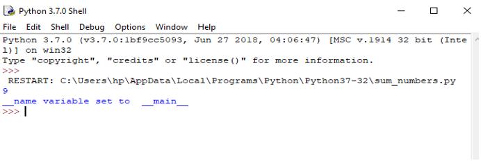 python main method output 1
