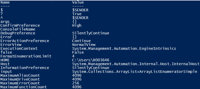 variable in powershell