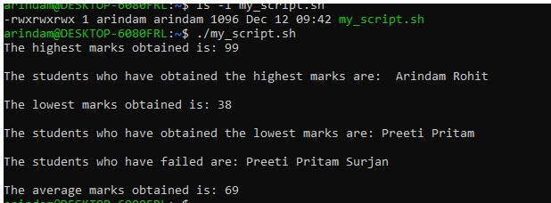 marks obtained output