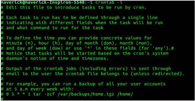 Crontab in Unix output