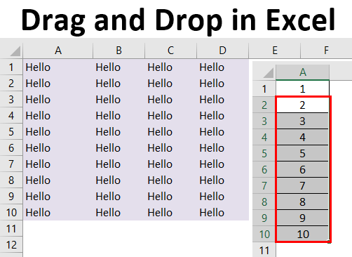 Drag and Drop in Excel