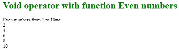 Javascript void output 1