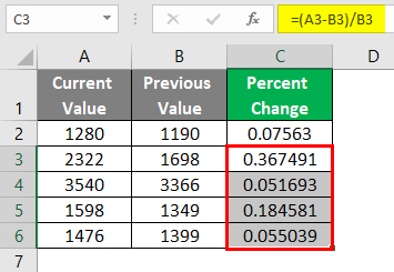 Values are Stored in Cells 2-5