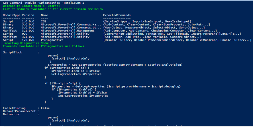 PowerShell Import-Module output 1