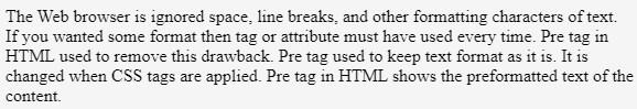 Pre Tag in HTML - 2