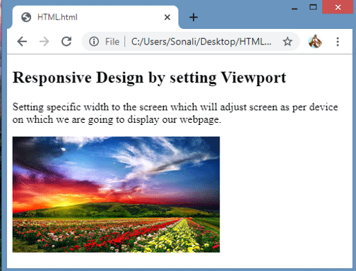 Output on Desktop or Laptop Screen: