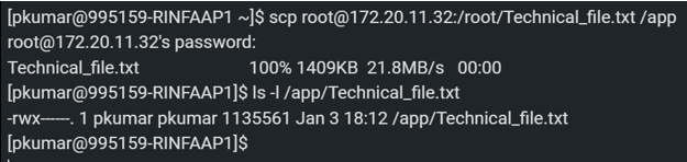 SCP Command in Linux output 2