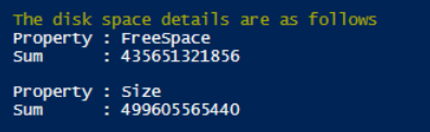 The disk space details are as follows