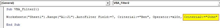 VBA Filter Examples 2-7