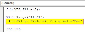 AutoFilter function Example 3-3