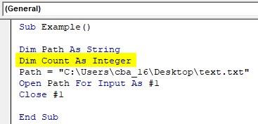 VBA Input Example - Integer