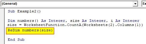 VBA ReDim Array Example 2-4