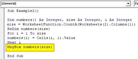 VBA ReDim Array Example 2-6