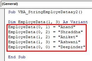 VBA String Array Examples 2-4