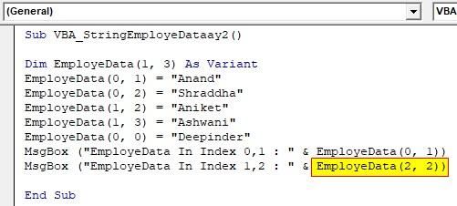 VBA String Array Examples 2-9