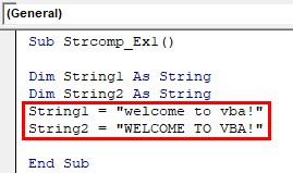 VBA String Comparison Examples 1-5