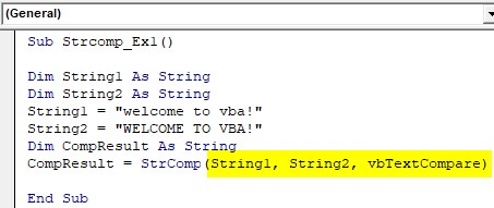 VBA String Comparison Examples 1-8