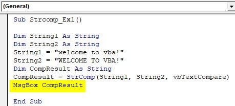 VBA String Comparison Examples 1-9