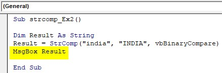 VBA String Comparison Examples 2-6