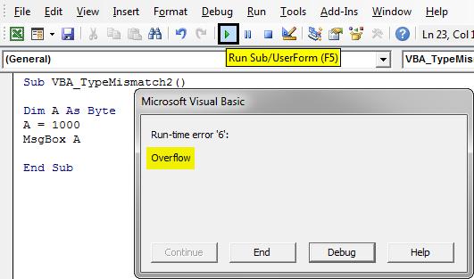 Run-Time Error '6 Example 2-7