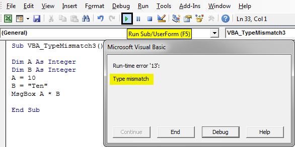 Run-time error '13 Example 3-5