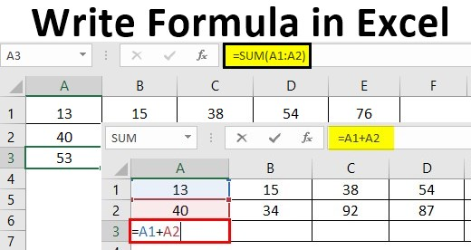 Write Formula in Excel