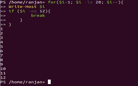 For loop with a break