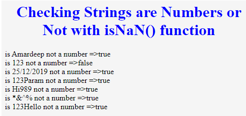 isNaN() JavaScript - 1