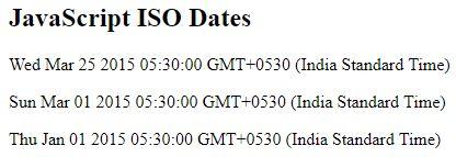 iso dates