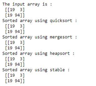numpy.sort 1-2