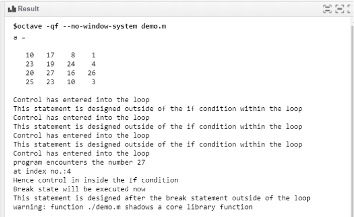 Break in Matlab- within a single loop
