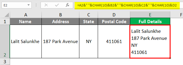 Insert Carriage Return in Excel 2-6