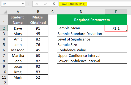 Confidence Interval in Excel 1-4