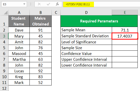 Confidence Interval in Excel 1-5
