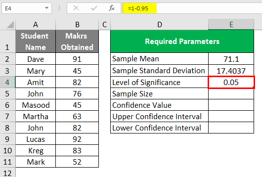 Confidence Interval in Excel 1-6