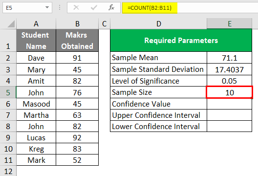 Confidence Interval in Excel 1-7