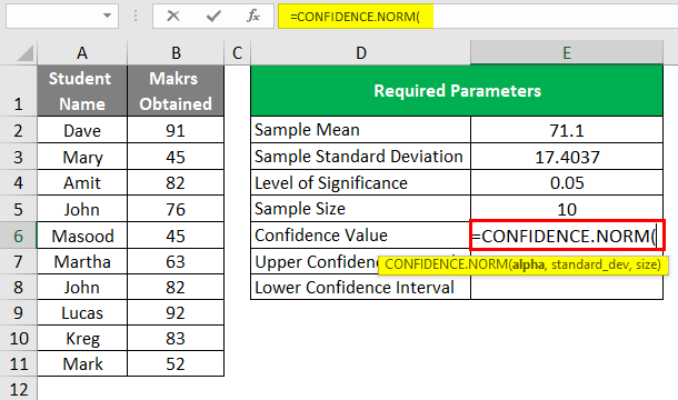 Confidence Interval in Excel 1-8