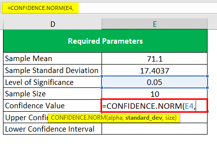 Confidence Interval in Excel 1-9