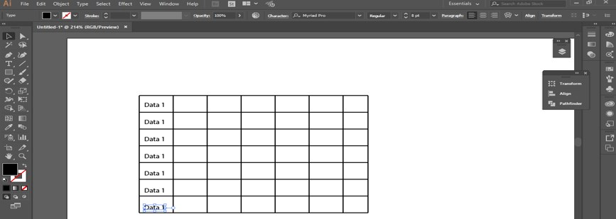 Create Table in Illustrator - 14